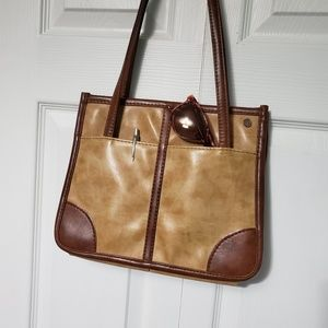 Vintage 80's Era Two-Tone Leather Handbag